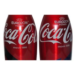 Singapore Euro 2016 UEFA France Coca-Cola Aluminum Bottle Pair