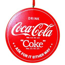 wood round sign ornament drink coca cola