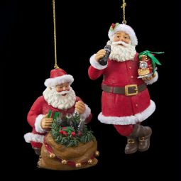 Kurt Adler Coca-Cola Santa Pair of Resin Ornaments