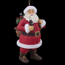 Kurt Adler Coca-Cola Standing Santa with Bag Resin Ornament