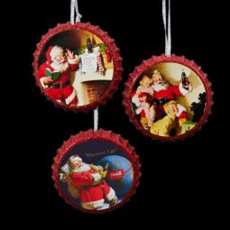 Kurt Adler Coca-Cola Santa Bottle Cap Ornaments Set 3