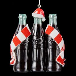 Kurt Adler Coca-Cola 3 Pack Bottles with Hat and Scarf Ornament