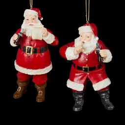 Kurt Adler Coca-Cola Resin Santa Ornament Pair