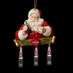 Kurt Adler Coca-Cola Santa with Dangle Bottles Ornament
