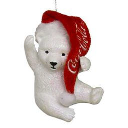 Kurt Adler Coca-Cola Polar Bear Cub with Hat Ornament