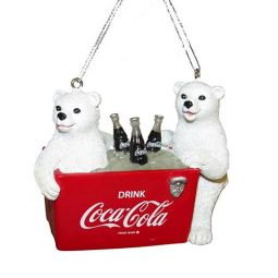 Kurt Adler Polar Bear Cubs in Coke Cooler Ornament