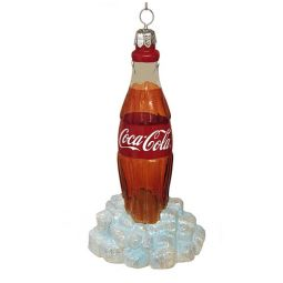 Kurt Adler Coca-Cola Glass Bottle On Ice Ornament