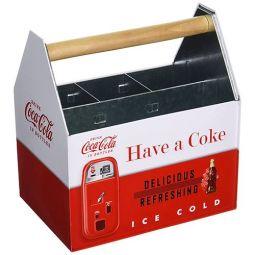 Retro Have A Coke Galvanized Tin Napkin And Utensil Holder